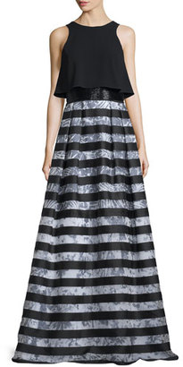 Theia Sleeveless Popover Striped Gown $1,295 thestylecure.com