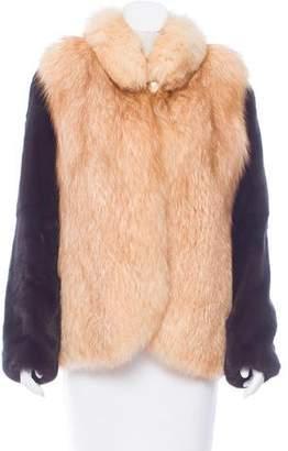 Fur Mink Fox-Trimmed Jacket