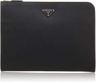 Prada Black Leather Large Zip Pouch