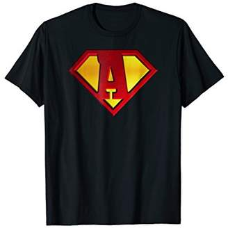 Funny Super Hero Shield Letter A name Gift 3D Tee Shirt