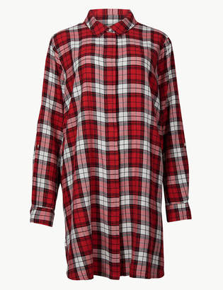Marks and Spencer CURVE Cotton Rich Checked Long Sleeve Shirt