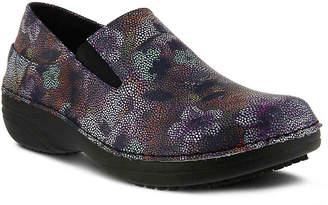 Spring Step Freesa Work Clog -Purple Floral Print - Women's