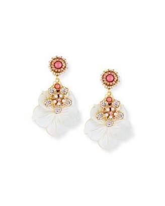 Jose & Maria Barrera Mother-of-Pearl & Opal Flower Drop Earrings