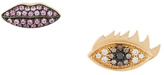 Delfina Delettrez 18kt yellow gold, diamond and sapphire Anatomik lips and eyes stud earrings