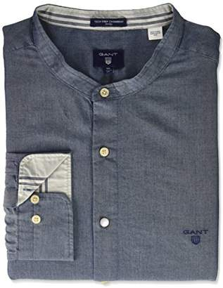 Gant Shirts Standard Men's Fitted Tech Prep Chambray Band Collar Shirt