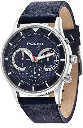 Police Men's Quartz Watch with Blue Dial Chronograph Display and Blue Leather Strap 14383JS/03