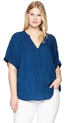 NYDJ Women's Plus Size Short Sleeve Boyfriend Shirt