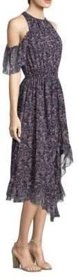 Joie Agnek Cold-Shoulder Hi-Lo Ruffle Dress