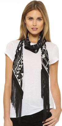 Rockins Classic Skinny Fringed Scarf $290 thestylecure.com