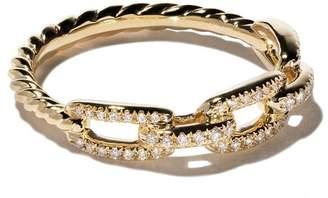 David Yurman 18kt yellow gold Stax single row pavé diamond chain link ring