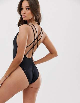 f4200fd21ceab Asos Design DESIGN recycled strappy back high leg swimsuit in black
