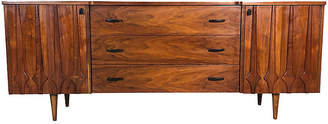 One Kings Lane Vintage 1960s Sculpted Walnut Long Dresser - 2-b-Modern