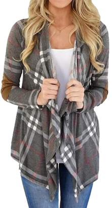 621253514d SYTX-women clothes SYTX Womens Long Sleeve Plaid Elbow Patch Draped Open  Front Cardigan Sweater