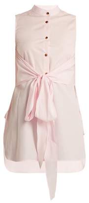 Khaite - Angie Sleeveless Cotton Poplin Shirt - Womens - Light Pink