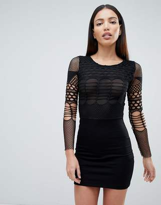 Forever Unique Mesh Long Sleeve Mini Dress