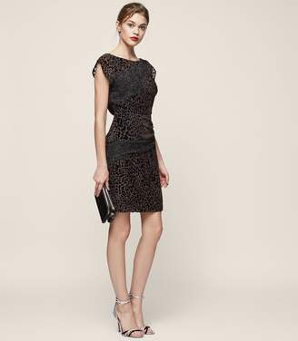 Reiss LULAN BURNOUT COCKTAIL DRESS Black/Grey