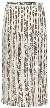 Salvatore Ferragamo Printed silk-blend midi skirt