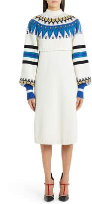 MSGM Fair Isle Wool Blend Layered Sweater Dress