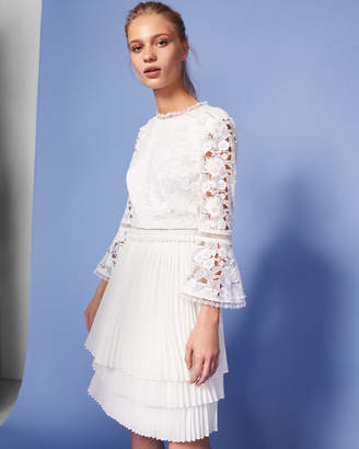 Ted Baker STEFONI Pleated skirt lace bodice dress