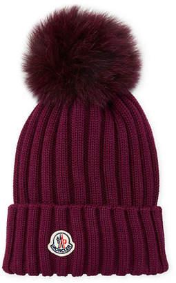 Moncler Ribbed-Knit Beanie Hat w/Fur Pompom