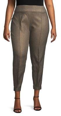 Lord & Taylor Plus Metallic Houndstooth Pants
