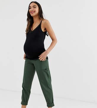 Asos DESIGN Maternity slim leg combat pants in khaki with under bump waistband
