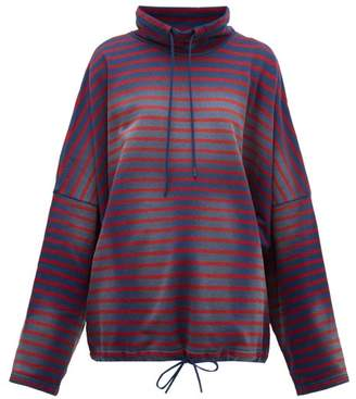 Martine Rose Breton Striped Cotton Sweatshirt - Womens - Navy Multi