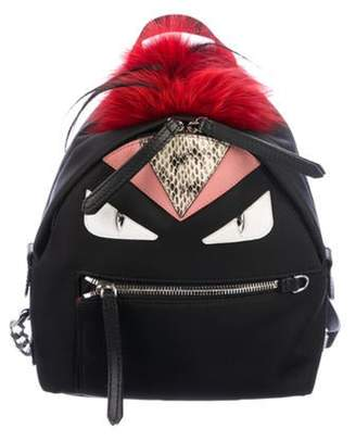 Fendi Snakeskin-Trimmed Mini Monster Backpack Black Snakeskin-Trimmed Mini Monster Backpack