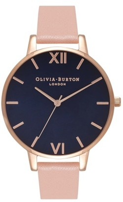Women's Olivia Burton Big Dial Leather Strap Watch, 38Mm $125 thestylecure.com