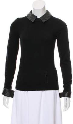 Milly Leather-Accented Long Sleeve Sweater