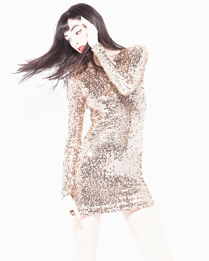 French Connection Long-Sleeve Sequin Dress, Bronze