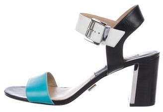 Michael Kors Leather Peep-Toe Sandals
