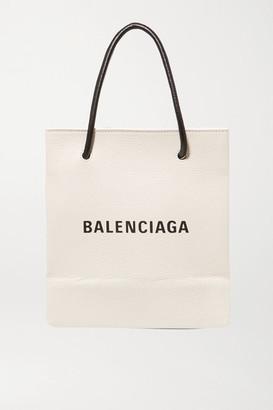 Balenciaga Printed Textured-leather Tote - White