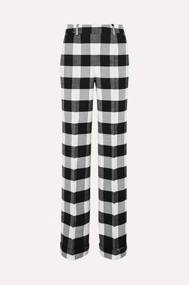 Altuzarra Gavi Gingham Wool-blend Twill Wide-leg Pants - Black