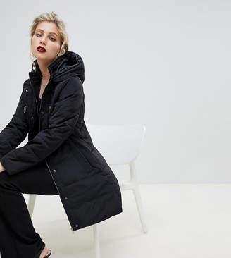 Oasis longline padded jacket in black