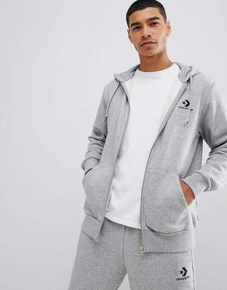 Converse Small Logo Full Zip Hoodie In Gray 10008813-A03