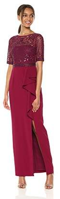 Adrianna Papell Women's Long Dress with Beaded Top and Ruffle On Skirt,2