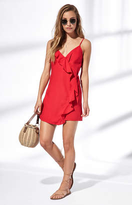 La Hearts Ruffle Wrap Dress