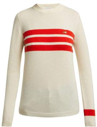 Bella Freud Embroidered Dog And Stripe Cashmere Sweater - Womens - Ivory Multi