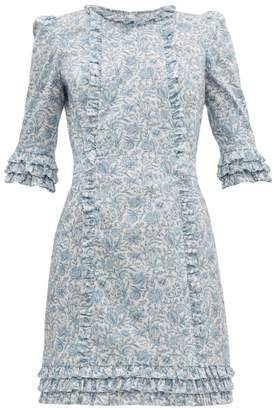 The Vampire's Wife Cate Mini Floral Print Cotton Dress - Womens - Blue White