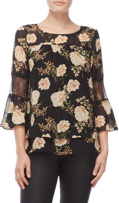 NY Collection Petite Floral Bell Sleeve Top