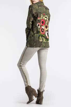 MM Vintage Floral-Embroidered Camo Military-Jacket