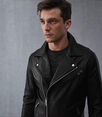 Reiss HONNE LEATHER BIKER JACKET Black
