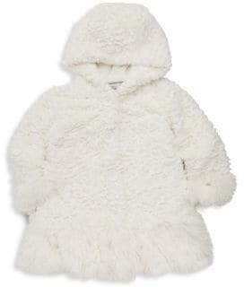 Widgeon Little Girl's& Girl's Hooded Faux Fur Coat