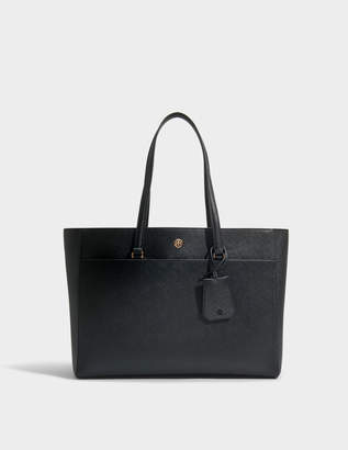 Tory Burch Robinson Tote Bag in Black and Royal Navy Soft Saffiano