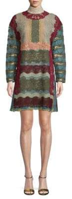 Valentino Striped Lace Shift Dress