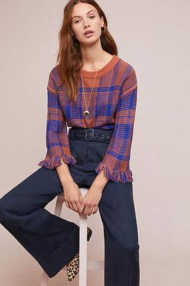 Moon River Fringed Plaid Pullover