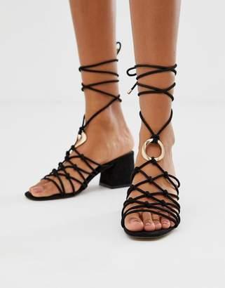 1158a121ea8 Asos Design DESIGN Harvey knotted ring detail block heeled sandals
