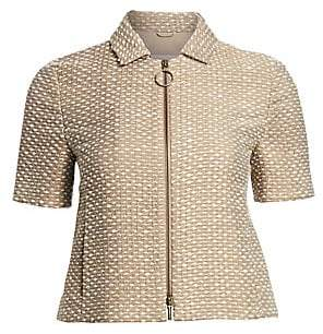 Akris Punto Women's Tweed Wool-Blend Short Sleeve Zip Jacket