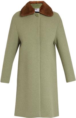 REDVALENTINO Fur-collar bouclé coat $993 thestylecure.com